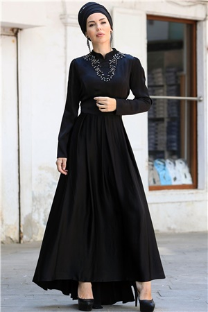 Evening Dress - Crepe - Unlined - High Collar - Black - ZNP30