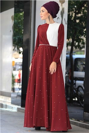 Evening Dress - Crepe - Lined - High Collar - Claret Red - ZNP32